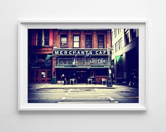 Seattle Art Pioneer Square Merchants Café Restaurant - Washington State Seattle Photography - Small and Large Wall Art Prints Available