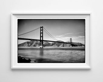 Golden Gate Bridge Photography - San Francisco Art, Black and White California Print - Small and Oversized Art Prints Available