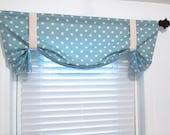 Tie Up Curtain Valance Ikat Dots Arctic Blue Natural POLKA DOT Window Treatments Handmade in USA
