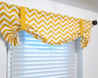 Tie Up Zig Zag Valance Lined Curtain Chevron Yellow/ Turquoise/ Red/ Pink/ Grey/ Wisteria/ Chartreuse/ Blue/ Black  Custom Sizing Available!