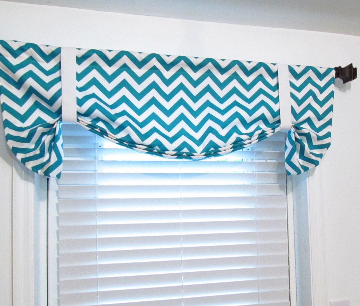tie up curtain valance turquoise chevron by supplierofdreams