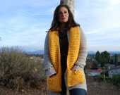 Bright Yellow or Red Super Soft Scarf with Pockets