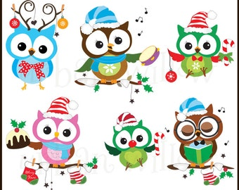 Celebration Christmas Owls  - Digital clip art owl images, in high resolution, Png and Jpeg clip art files.