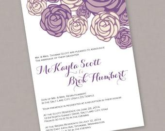 Custom PRINTABLE Floral Wedding Invitation - PDF Digital File