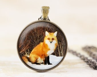 Red Fox Necklace - Fox Jewelry Pendant, Wildlife Necklace Bronze, Fox Photography Jewelry, Fox Wildlife Necklace, Fox Animal Pendant