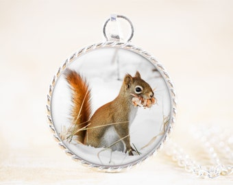 Squirrel Necklace - Red Squirrel Jewelry Pendant , Winter Wildlife Photography , Woodland Animal Necklace