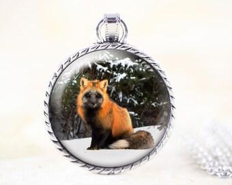 Cross Fox Necklace Pendant - Fox Photo Jewelry Winter, Black Fox Jewelry, Silver Fox Jewelry Necklace, Fox Animal Jewelry, Fox Gifts