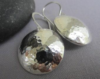 Hammered Earrings/ Hammered Silver Earrings/ Silver Earrings/ Texturized Earrings/ Artisan Earrings
