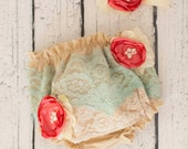 Vintage Tea Stained Diaper Cover with Turquoise Lace, Freshwater pearls and coral blooming flowers and Coordinating Headband
