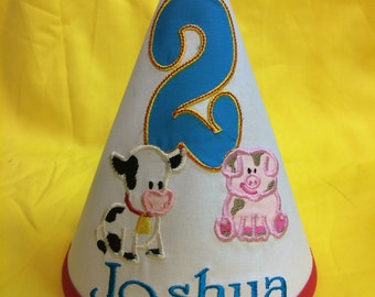 Personalized farm party hat