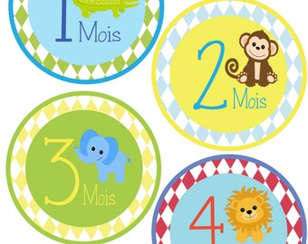 French - Monthly Bodysuit Stickers - Jungle Animals - For a baby girl or boy 1-12 months -  Perfect Gift for Mom to Be