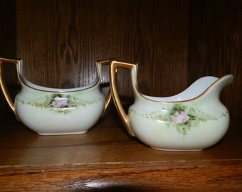 Vintage Hand Painted Cream and Sugar Set