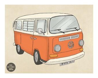 VW Volkswagen Camper Van - 5 Colours available - Bus Illustration - Art Print - Wall Art for Men - Man Cave Decor for Dad- Gift for Husband