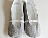 SALE - Fabric Slippers - Womens Slippers - Gray and White Floral on Gray - Indoor Shoes - Womens Size 5