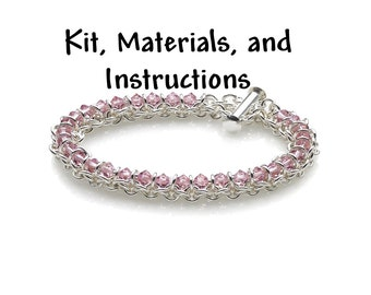 LIGHT AMETHYST Spine of the Centipede Weave Bracelet Chain Maille Kit, includes materials, full color instructions, June Birthstone kit0024