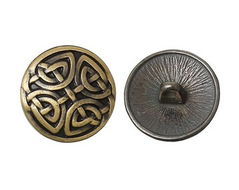 6 Bronze Metal ROUND CARVED Shank Buttons for Jewelry Making, Scrapbooking, Sewing  BUT0019