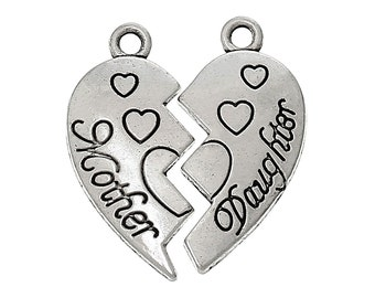 5 Sets Antique Silver Carved MOTHER and DAUGHTER HEART Charm Pendants  chs1344