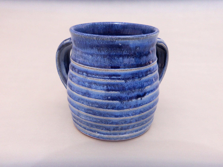 Traditional Washing Cup Blue Ceramic Negel Vasser