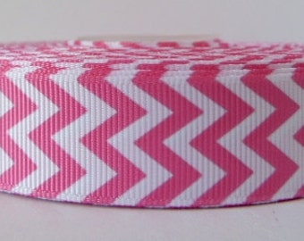 Pink 22mm Chevron Grosgrain Ribbon