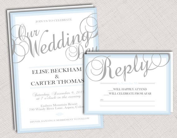 Ombre Wedding Invitation: Ombre Border Wedding Invitation Rsvp Or Program