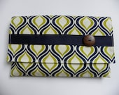 Diaper & Wipes Case- Bold Navy Blue and Green Print
