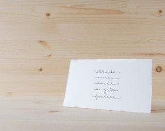 Simple Thank You Card - Elegant Handwriting - Thank You Languages