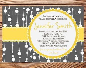 Baby shower invitation, Gray, Yellow, baby shower Invitation, boy, girl, Baby Shower Invite, gray, yellow, digital, 1135