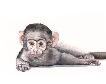 Monkey watercolor painting ~ Print of watercolor painting ~ 5 by 7 print