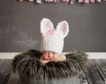 Newborn Bunny Hat, Newborn Photo Prop, Newborn Easter Prop, Fuzzy Bunny Hat, Newborn Girl Hat, Crochet Bunny Hat, Furry Bunny Hat,Rabbit Hat