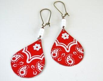 Earth Friendly Repurposed Vintage Tin Earrings/ Boho Style/ Red Bandana