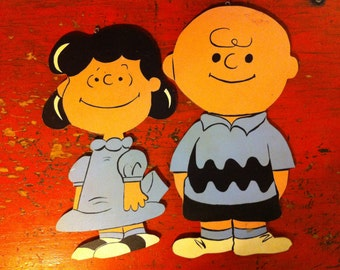 Vintage Charlie Brown & Lucy, Peanuts wall sign, Peanuts wall hanging, vintage Peanuts decor, hand made Peanuts, hand painted Peanuts