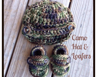 Baby Boy CAMO, Crocheted Newsboy Hat & Loafer Booties, Newborn Photography Prop, 0-3 3-6 6-12 mos shower gift, photo military camouflage