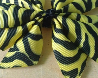 Yellow and Black Zebra Hair Bow