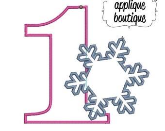 INSTANT DOWNLOAD, Machine Applique Design, One with Snowflake Applique