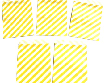 12 Yellow Diagonal Stripe Favor Treat Loot Goody Bags Birthday Party Decoration Food Bag