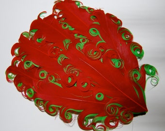 Curly Feather Pad - Two Tone  Red on Lime Green FP212 - (1 pc)  Christmas Holiday