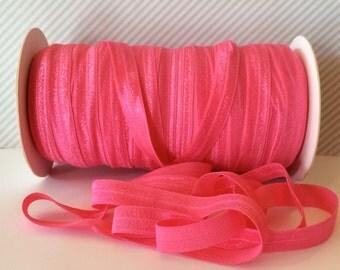 "Pink FOE #176 Visual Pink Fold Over Elastic Shiny Solid FOE- 5 yards 5/8"" inch Headbands Hair Ties Satin Elastic Soft Elastic"