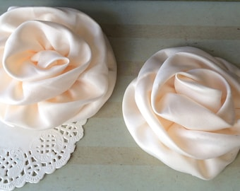 """Vintage Cream Satin Rolled Rose Flowers Rosettes Set of Two 3"""" Fabric Flowers Applique Satin rose ruffles wholesale flower supplies wedding"""