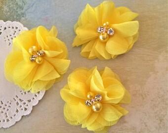 "Yellow Mini Chiffon Flowers with rhinestones & pearl centers - Small  2"" Whitney shabby chiffon layered flowers wholesale flowers"