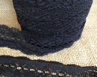 "Black Lace Elastic 1.75"" Lace Stretch Elastic 4.5cm wide elastic trim baby headband lace  garter lingerie  elasttic 3, 5, OR 10 yards"