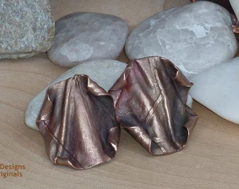 Copper Parchment Fold Formed Post Earrings/ Kupfer Papyrus Falten Forming Ohrstecker