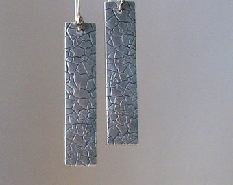 Textured Silver Metal Clay Earrings, SRAJD
