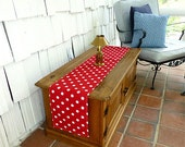 Red White Polka Dot Table Table Runners for Wedding Decor, Birthday Parties, Party Decor, Holidays - You Select Size