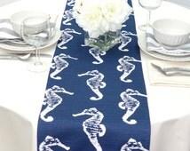 Navy Blue Table Runner - Navy Blue Wedding Linens - Navy Blue Table Topper - Sea Horse Navy Blue Table Runner