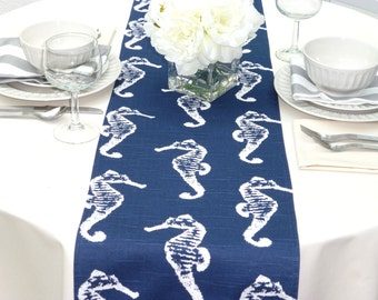 Choose your Table Runner, Navy Blue Table Runner - Navy Blue Wedding Linens - Navy Blue Table Topper - Sea Horse Navy Blue Table Runner