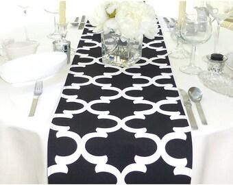 Black Table Runner - Black Wedding Linens - Black Table Topper - Fynn Black Table Runner