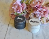 Personalized Wedding Ring Boxes-(Set of Two-His/Hers) - With Burlap Pillows. Your choice of Colors. Ships Quickly.