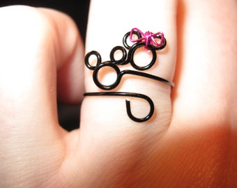 Wire Wrapped Tiny Minnie and Mickey Ring MADE to ORDER Ring