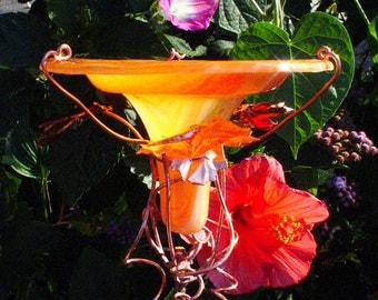 HUMMINGBIRD FEEDER, Garden Decor, Stained Glass, Orange, copper art, suncatcher, Bird Feeder, lawn ornament