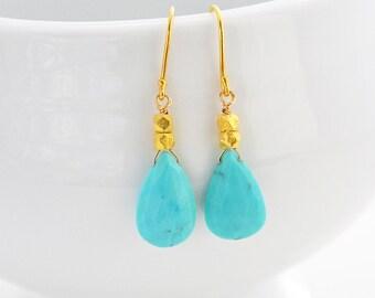 Turquoise Earrings, Birthstone Earrings, Dangle Earrings,Sleeping Beauty Turquoise, Drop Earrings, December Birthday,